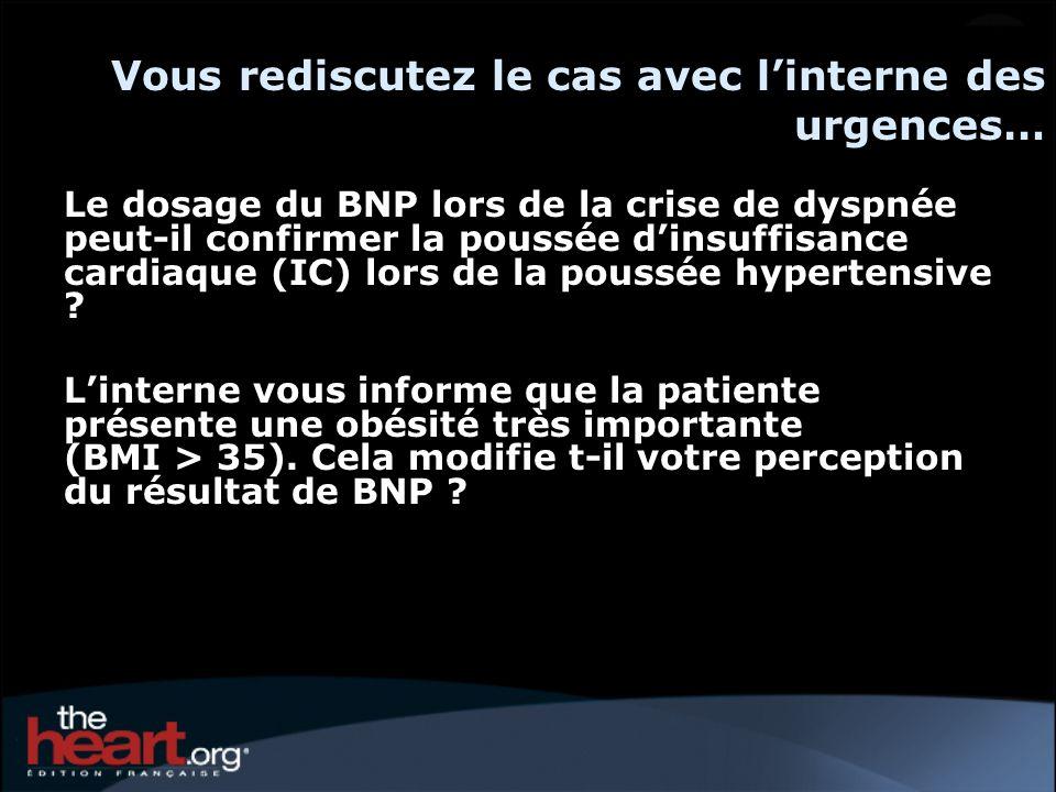 Vous rediscutez le cas avec linterne des urgences… Le dosage du BNP lors de la crise de dyspnée peut-il confirmer la poussée dinsuffisance cardiaque (IC) lors de la poussée hypertensive .