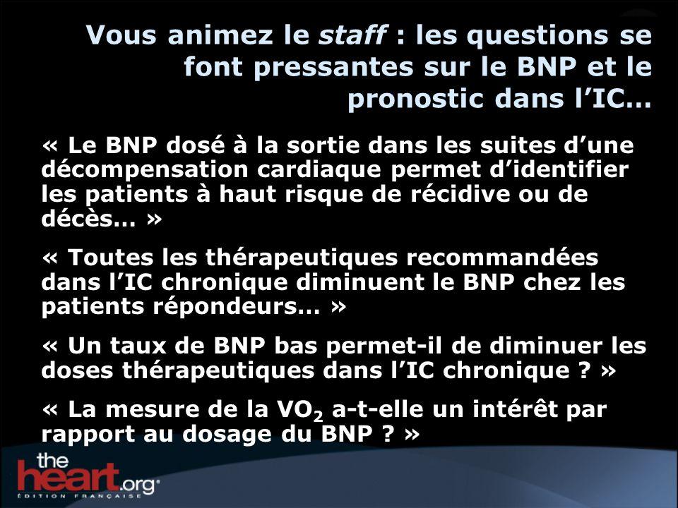 Vous animez le staff : les questions se font pressantes sur le BNP et le pronostic dans lIC… « Le BNP dosé à la sortie dans les suites dune décompensation cardiaque permet didentifier les patients à haut risque de récidive ou de décès… » « Toutes les thérapeutiques recommandées dans lIC chronique diminuent le BNP chez les patients répondeurs… » « Un taux de BNP bas permet-il de diminuer les doses thérapeutiques dans lIC chronique .