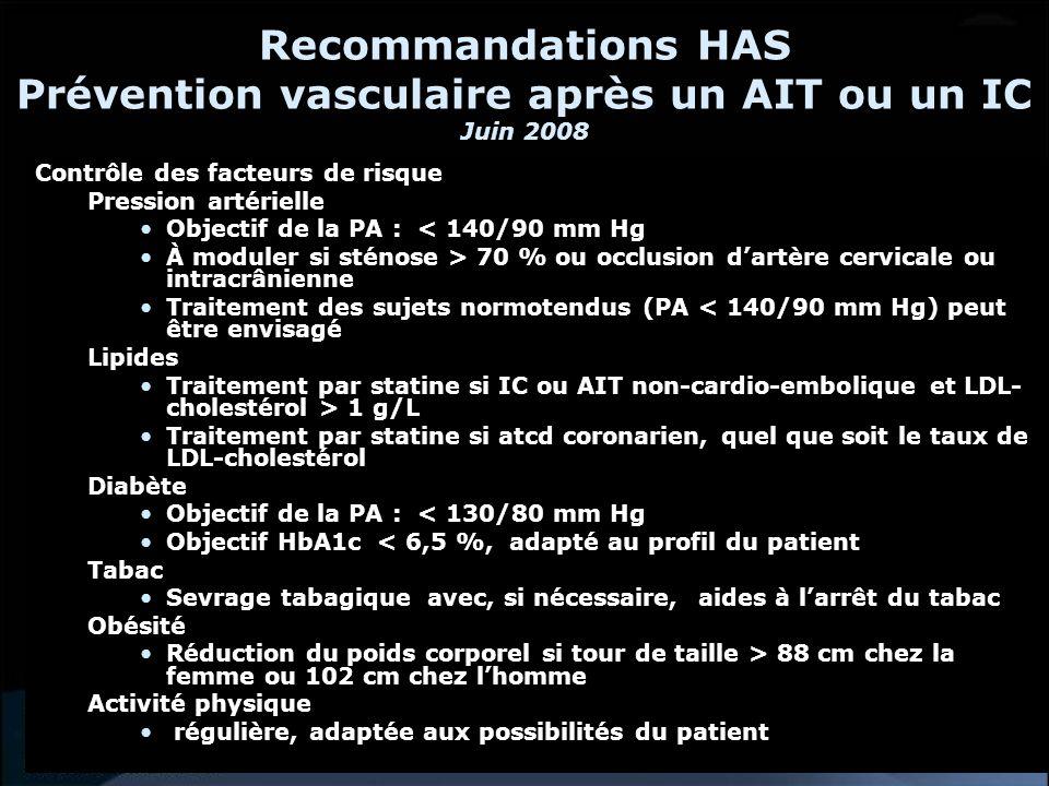 Recommandations HAS Prévention vasculaire après un AIT ou un IC Juin 2008 Traitement antithrombotique IC ou AIT lié à lathérosclérose, à la maladie des petites artères ou dorigine indéterminée Trois options de traitement envisageables (AP) : - aspirine (de 50 à 300 mg/jour), - association aspirine (25 mg x2/jour)-dipyridamole (200 mg LP x 2/jour) - clopidogrel (75 mg/jour) Fibrillation auriculaire non valvulaire Traitement anticoagulant - INR entre 2 et 3, - à maintenir au long cours même en cas de retour en rythme sinusal.