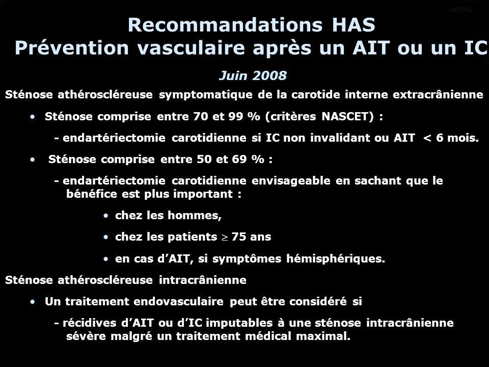 Sténose athéroscléreuse symptomatique de la carotide interne extracrânienne Sténose comprise entre 70 et 99 % (critères NASCET) : - endartériectomie c