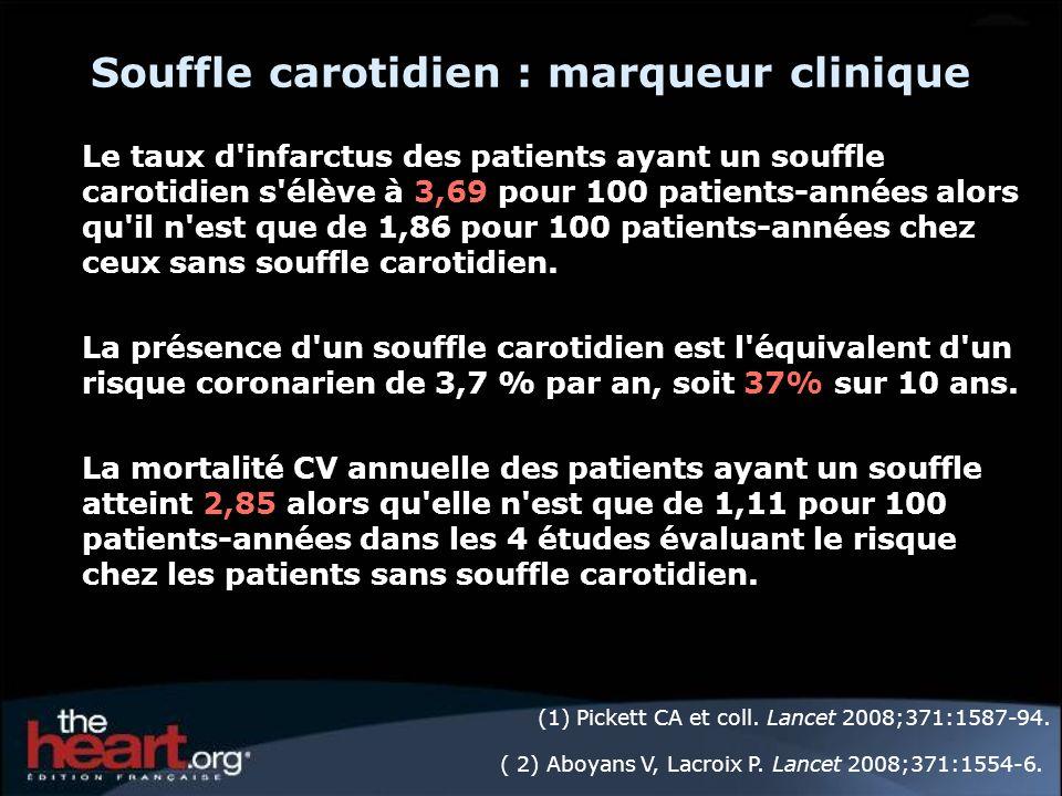 Souffle carotidien : marqueur clinique Le taux d'infarctus des patients ayant un souffle carotidien s'élève à 3,69 pour 100 patients-années alors qu'i