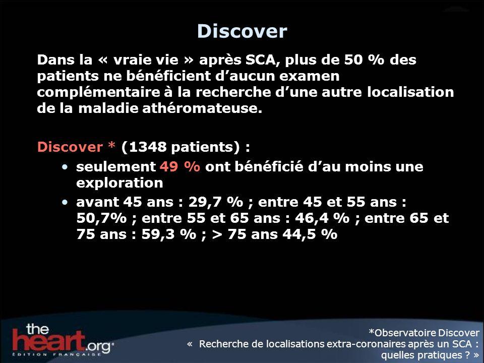 Discover Dans la « vraie vie » après SCA, plus de 50 % des patients ne bénéficient daucun examen complémentaire à la recherche dune autre localisation