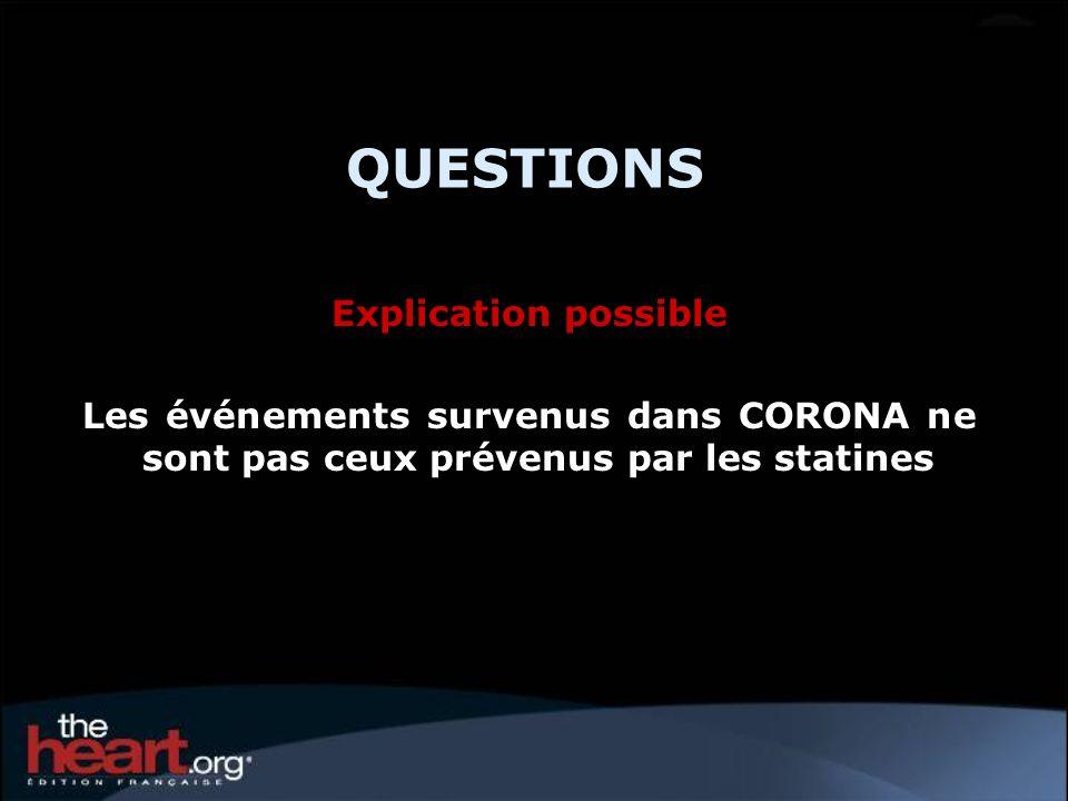 QUESTIONS Explication possible Les événements survenus dans CORONA ne sont pas ceux prévenus par les statines