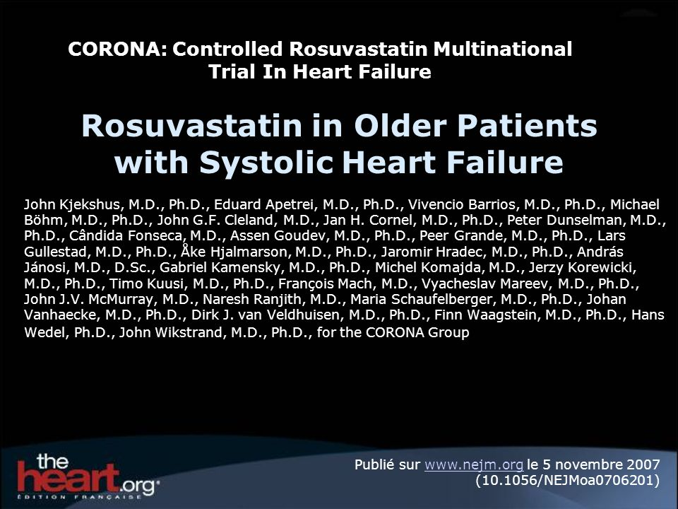 Primary Endpoint CV death or non-fatal MI or non-fatal stroke 10 5 0 Per cent 20 35 15 25 30 Per cent Placebo n = 732 (29.3%) Rosuvastatin n = 692 (27.5%) No.