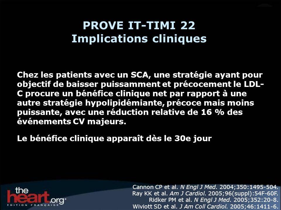 PROVE IT-TIMI 22 Implications cliniques Chez les patients avec un SCA, une stratégie ayant pour objectif de baisser puissamment et précocement le LDL-