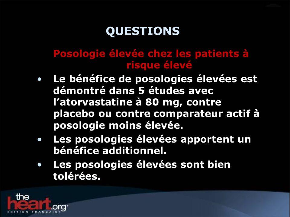 QUESTIONS Posologie élevée chez les patients à risque élevé Le bénéfice de posologies élevées est démontré dans 5 études avec latorvastatine à 80 mg,