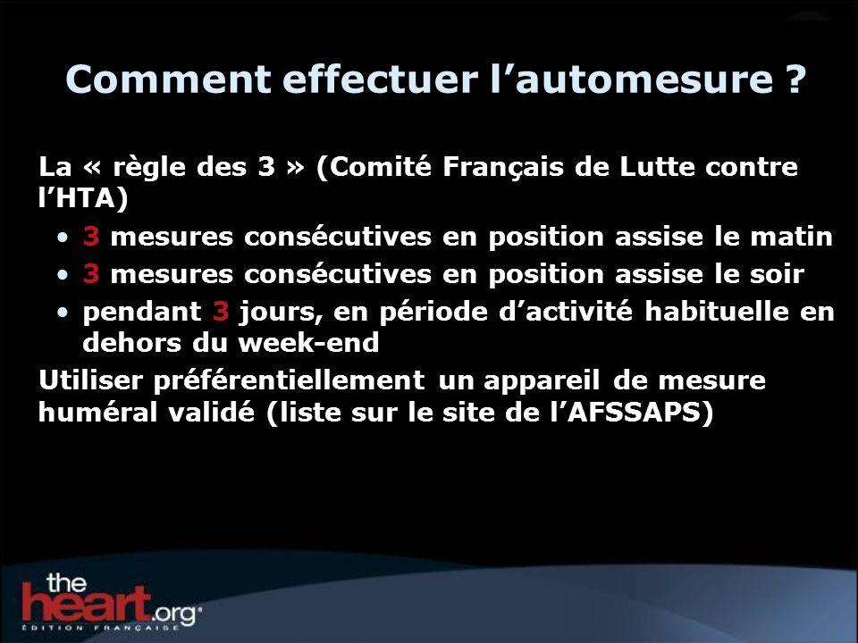 Comment effectuer lautomesure ? La « règle des 3 » (Comité Français de Lutte contre lHTA) 3 mesures consécutives en position assise le matin 3 mesures