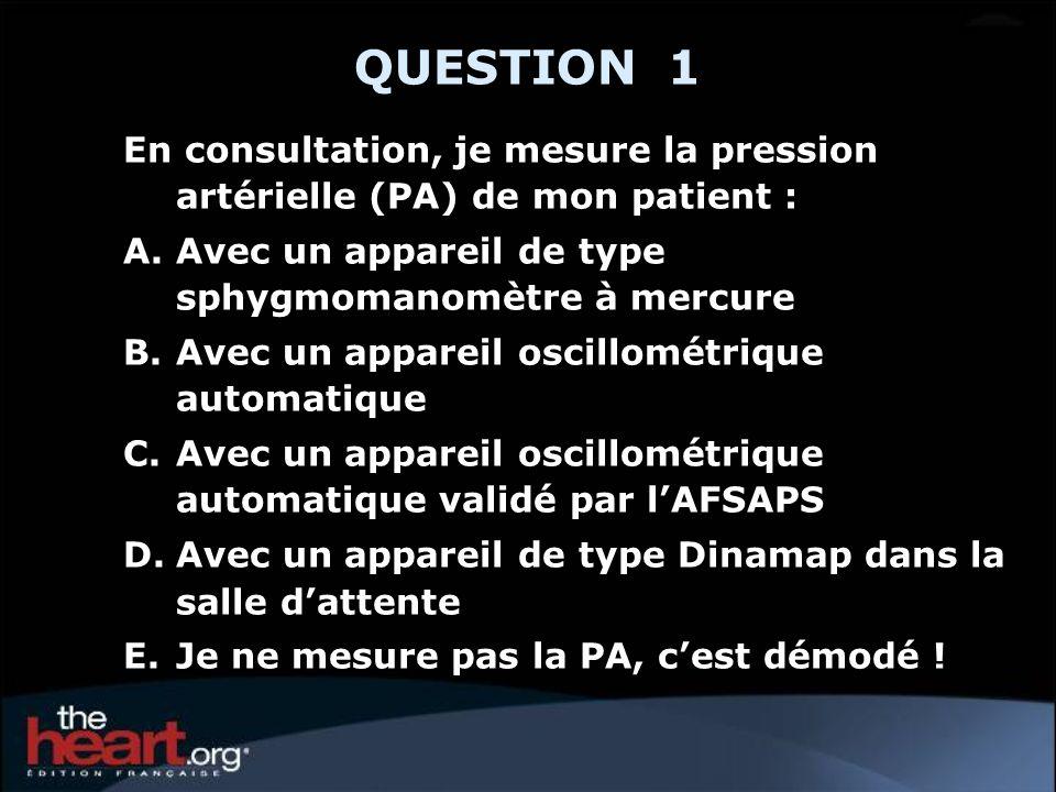 QUESTION 1 En consultation, je mesure la pression artérielle (PA) de mon patient : A.Avec un appareil de type sphygmomanomètre à mercure B.Avec un app