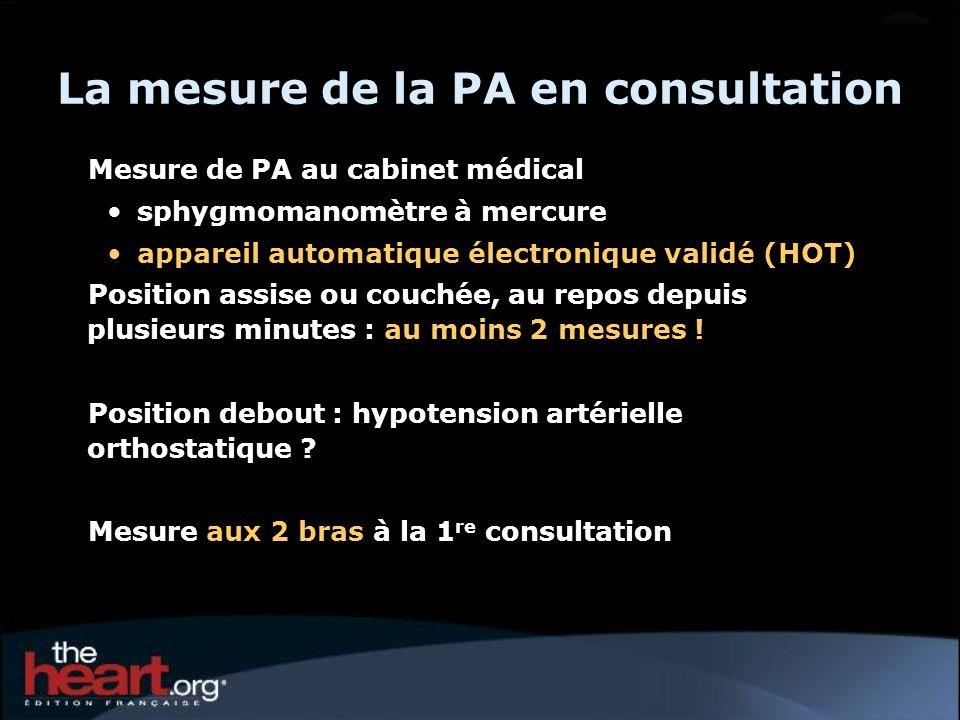 La mesure de la PA en consultation Mesure de PA au cabinet médical sphygmomanomètre à mercure appareil automatique électronique validé (HOT) Position