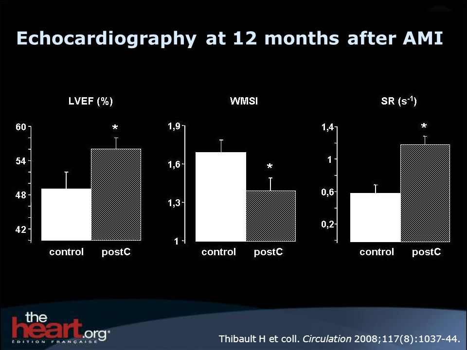Echocardiography at 12 months after AMI Thibault H et coll. Circulation 2008;117(8):1037-44.