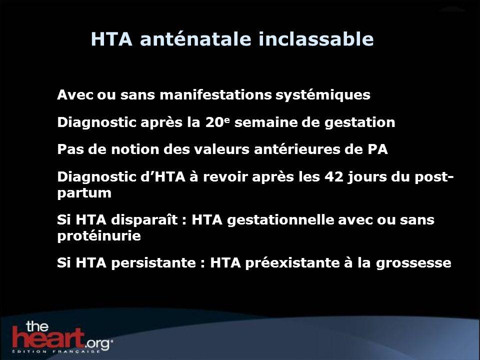 HTA anténatale inclassable Avec ou sans manifestations systémiques Diagnostic après la 20 e semaine de gestation Pas de notion des valeurs antérieures