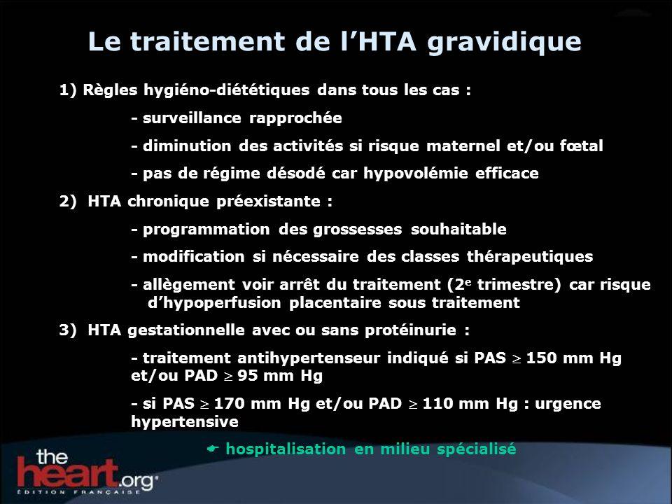 Le traitement de lHTA gravidique 1) Règles hygiéno-diététiques dans tous les cas : - surveillance rapprochée - diminution des activités si risque mate