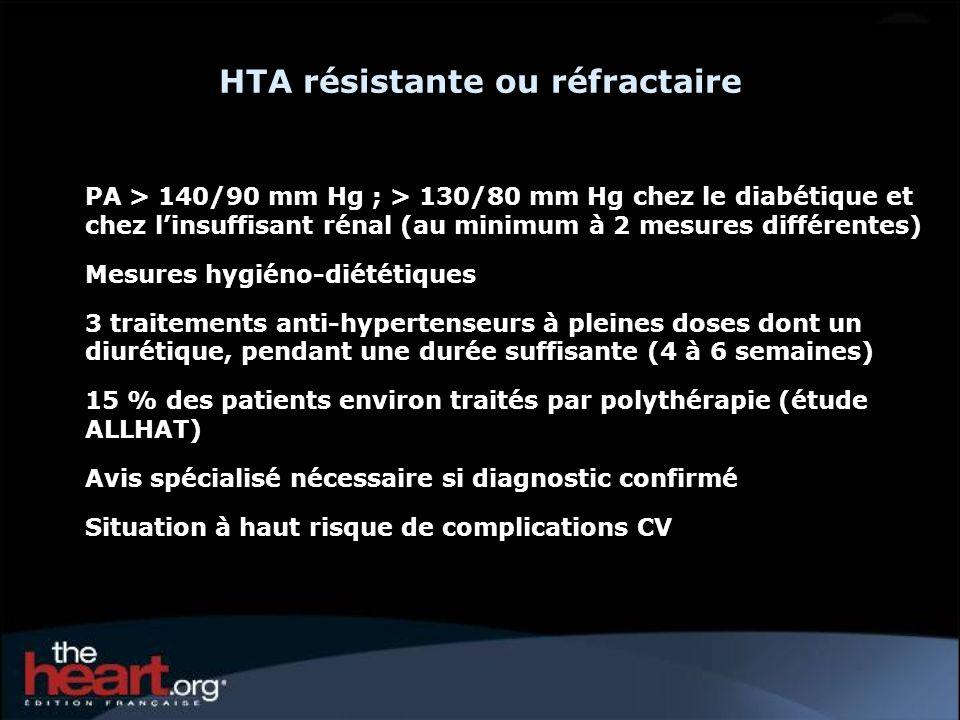 PA > 140/90 mm Hg ; > 130/80 mm Hg chez le diabétique et chez linsuffisant rénal (au minimum à 2 mesures différentes) Mesures hygiéno-diététiques 3 tr