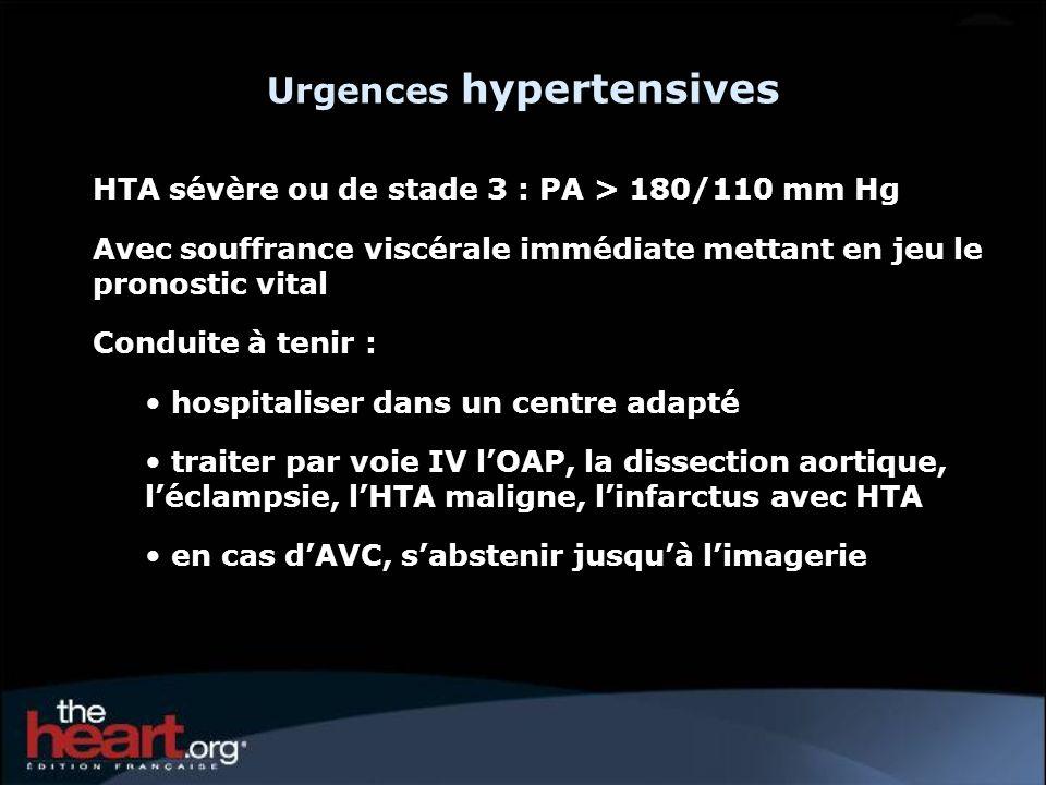 HTA sévère ou de stade 3 : PA > 180/110 mm Hg Avec souffrance viscérale immédiate mettant en jeu le pronostic vital Conduite à tenir : hospitaliser da
