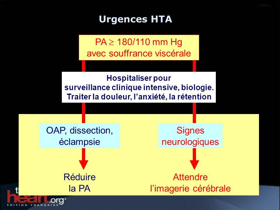 Réduire la PA Attendre limagerie cérébrale Signes neurologiques Hospitaliser pour surveillance clinique intensive, biologie. Traiter la douleur, lanxi