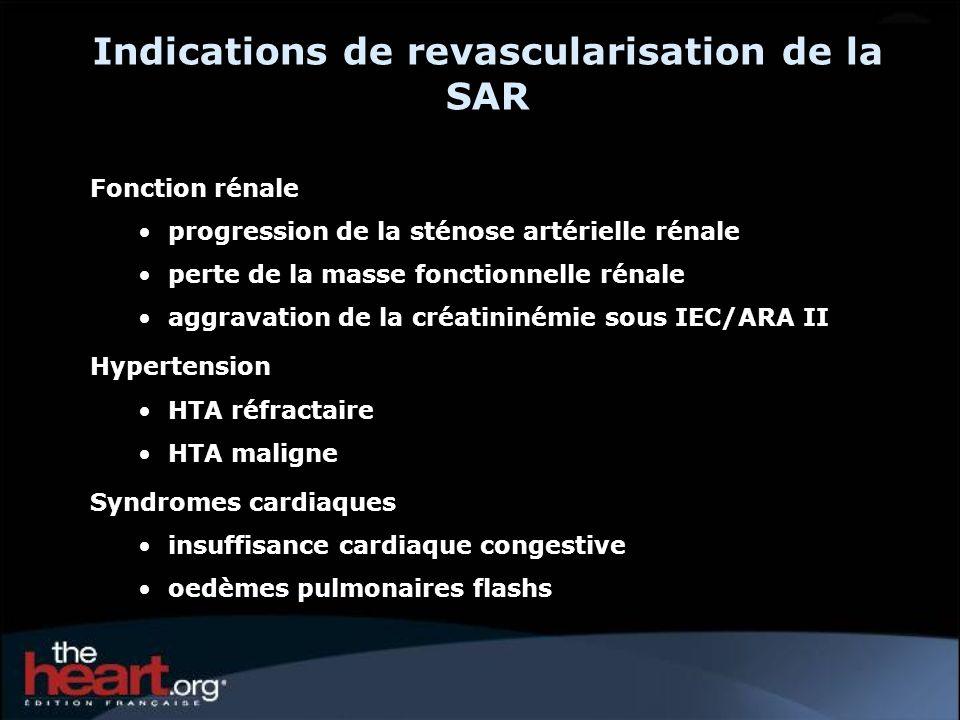 Indications de revascularisation de la SAR Fonction rénale progression de la sténose artérielle rénale perte de la masse fonctionnelle rénale aggravat