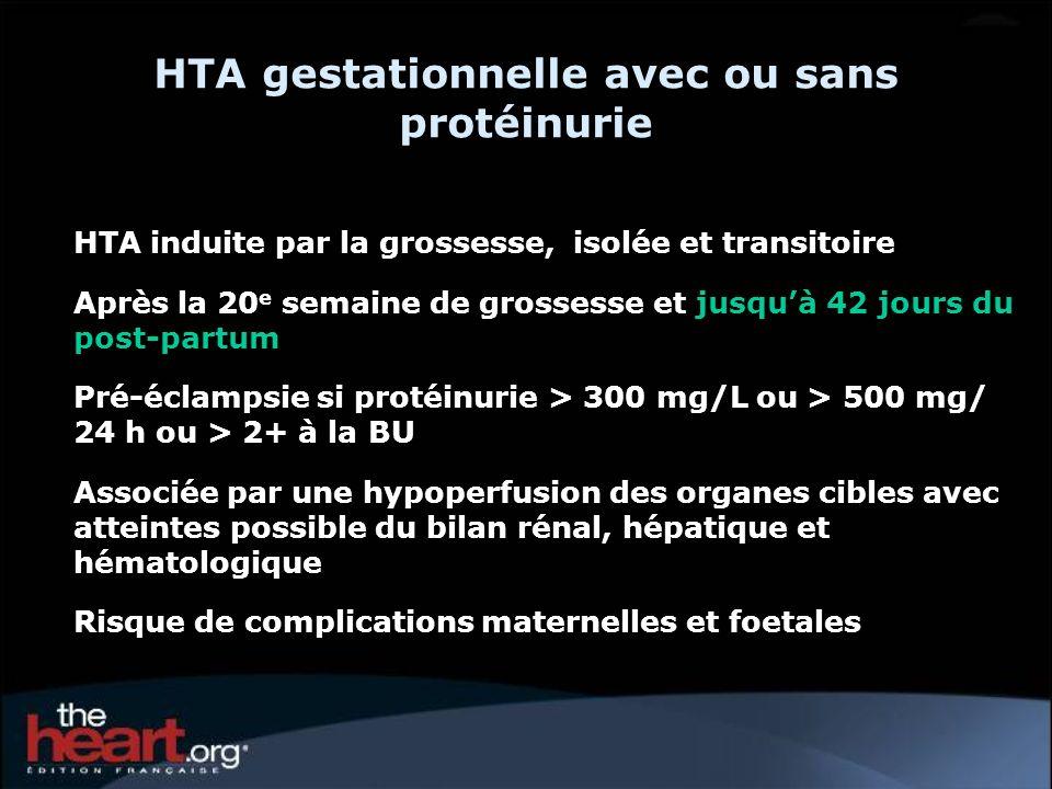HTA gestationnelle avec ou sans protéinurie HTA induite par la grossesse, isolée et transitoire Après la 20 e semaine de grossesse et jusquà 42 jours