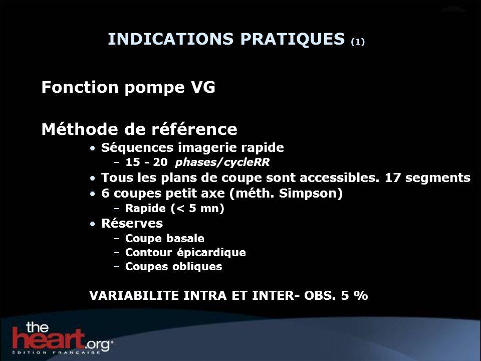 INDICATIONS PRATIQUES (1) Fonction pompe VG Méthode de référence Séquences imagerie rapide –15 - 20 phases/cycleRR Tous les plans de coupe sont access