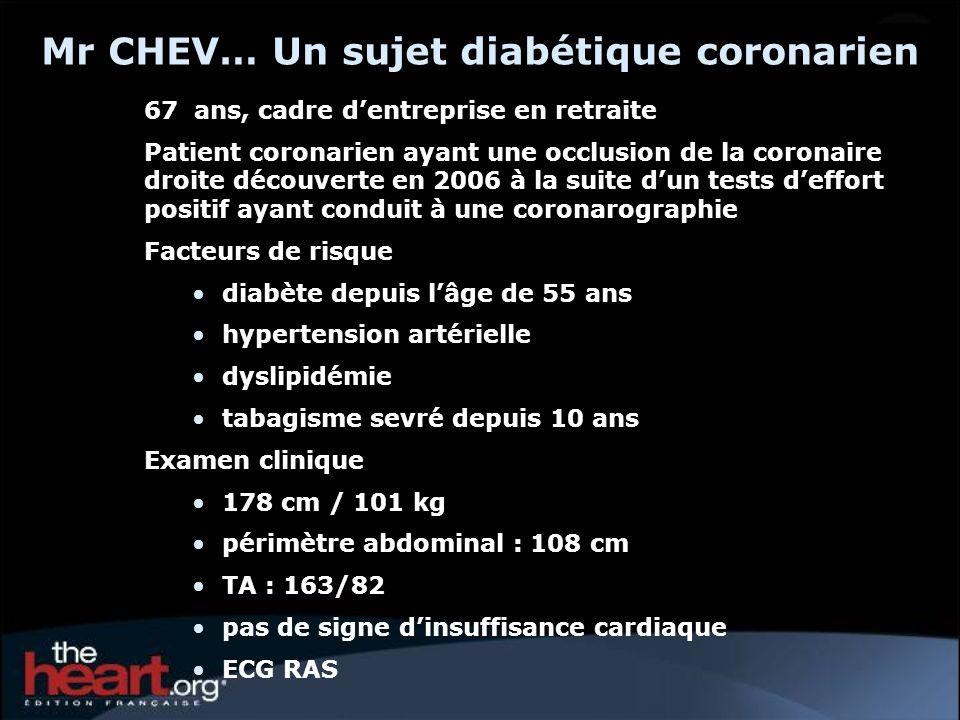 Mr CHEV… Un sujet diabétique coronarien 67 ans, cadre dentreprise en retraite Patient coronarien ayant une occlusion de la coronaire droite découverte