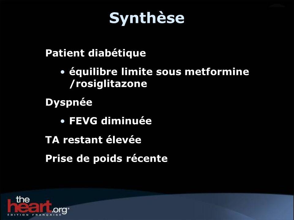 Synthèse Patient diabétique équilibre limite sous metformine /rosiglitazone Dyspnée FEVG diminuée TA restant élevée Prise de poids récente
