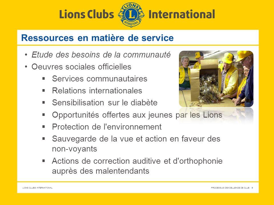 LIONS CLUBS INTERNATIONAL PROCESSUS D'EXCELLENCE DE CLUB 9 Ressources en matière de service Etude des besoins de la communauté Oeuvres sociales offici