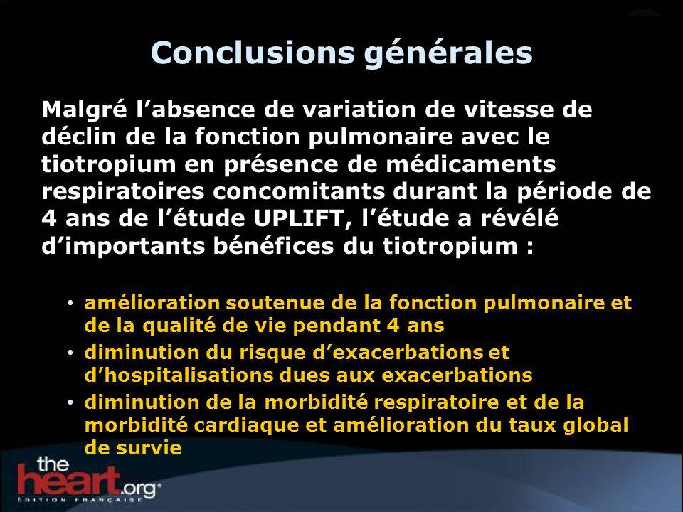 Conclusions générales Malgré labsence de variation de vitesse de déclin de la fonction pulmonaire avec le tiotropium en présence de médicaments respir