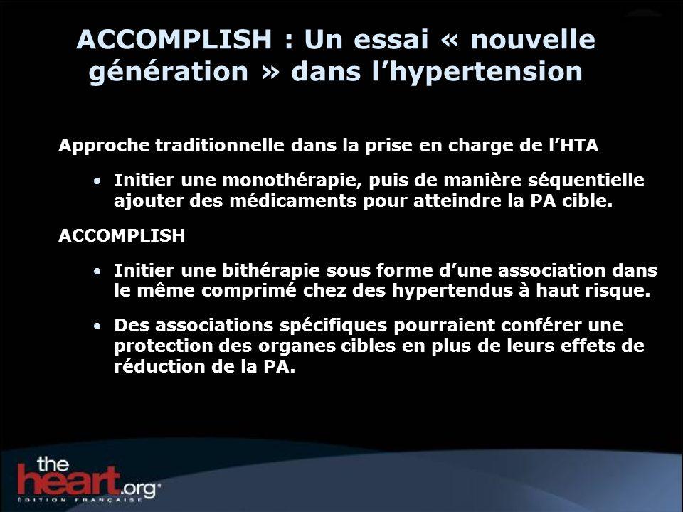 ACCOMPLISH : Un essai « nouvelle génération » dans lhypertension Approche traditionnelle dans la prise en charge de lHTA Initier une monothérapie, pui