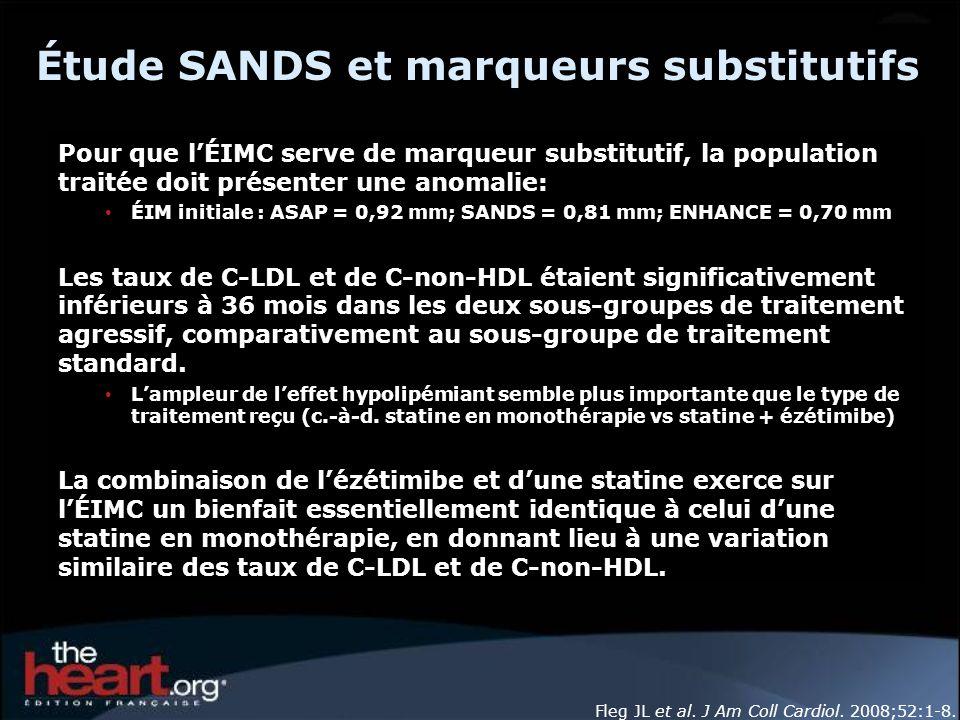 Étude SANDS et marqueurs substitutifs Pour que lÉIMC serve de marqueur substitutif, la population traitée doit présenter une anomalie: ÉIM initiale :
