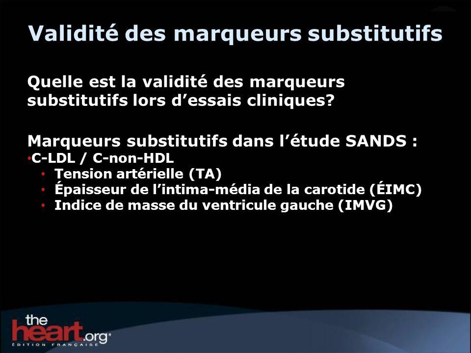 Quelle est la validité des marqueurs substitutifs lors dessais cliniques? Marqueurs substitutifs dans létude SANDS : C-LDL / C-non-HDL Tension artérie