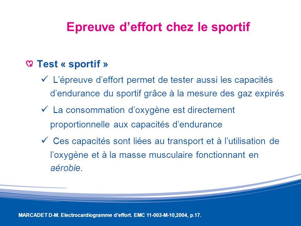 Epreuve deffort chez le sportif Test « sportif » Lépreuve deffort permet de tester aussi les capacités dendurance du sportif grâce à la mesure des gaz