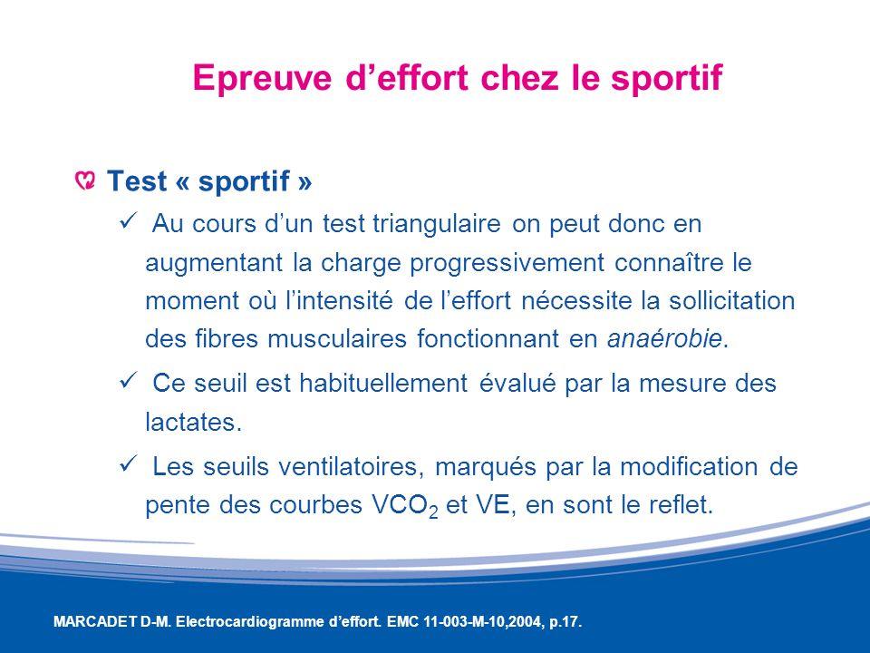 Epreuve deffort chez le sportif Test « sportif » Au cours dun test triangulaire on peut donc en augmentant la charge progressivement connaître le mome