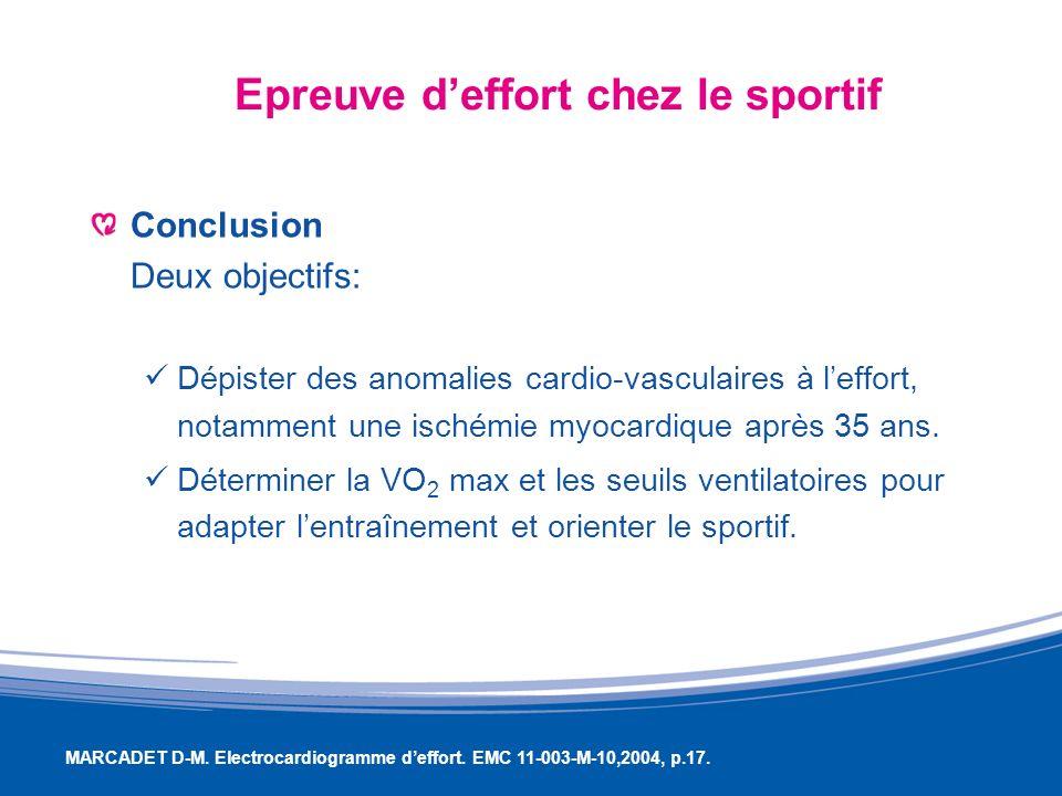 Epreuve deffort chez le sportif Conclusion Deux objectifs: Dépister des anomalies cardio-vasculaires à leffort, notamment une ischémie myocardique apr