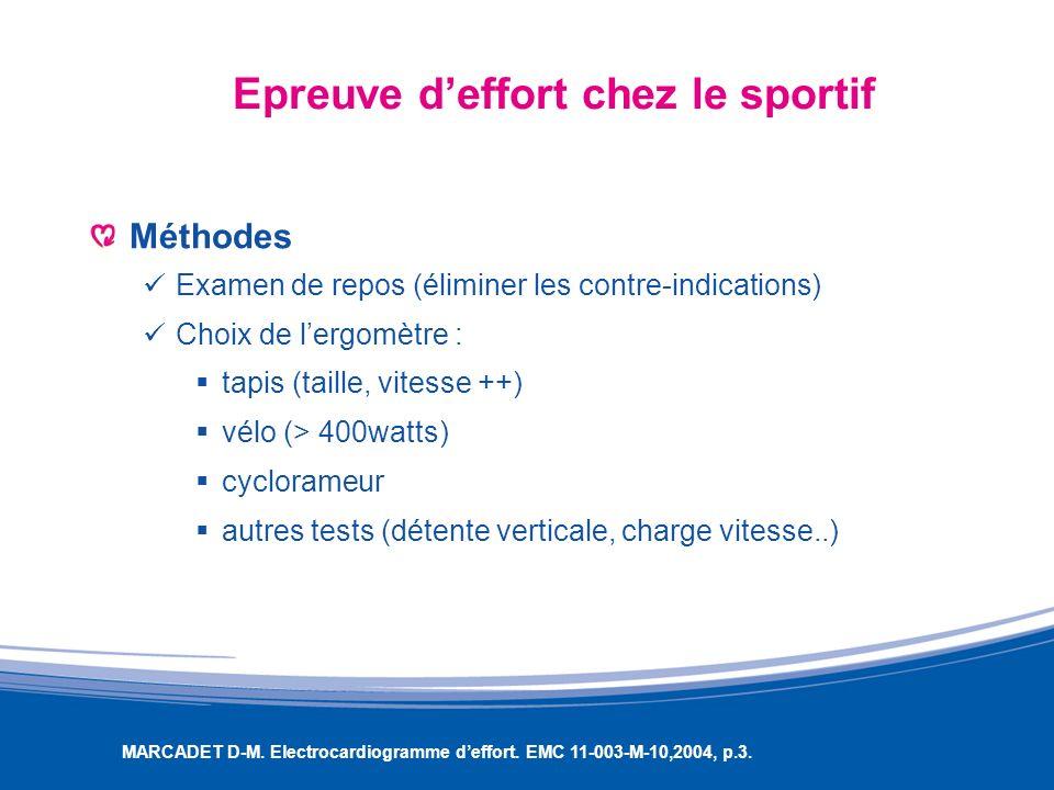 Epreuve deffort chez le sportif Méthodes Examen de repos (éliminer les contre-indications) Choix de lergomètre : tapis (taille, vitesse ++) vélo (> 40