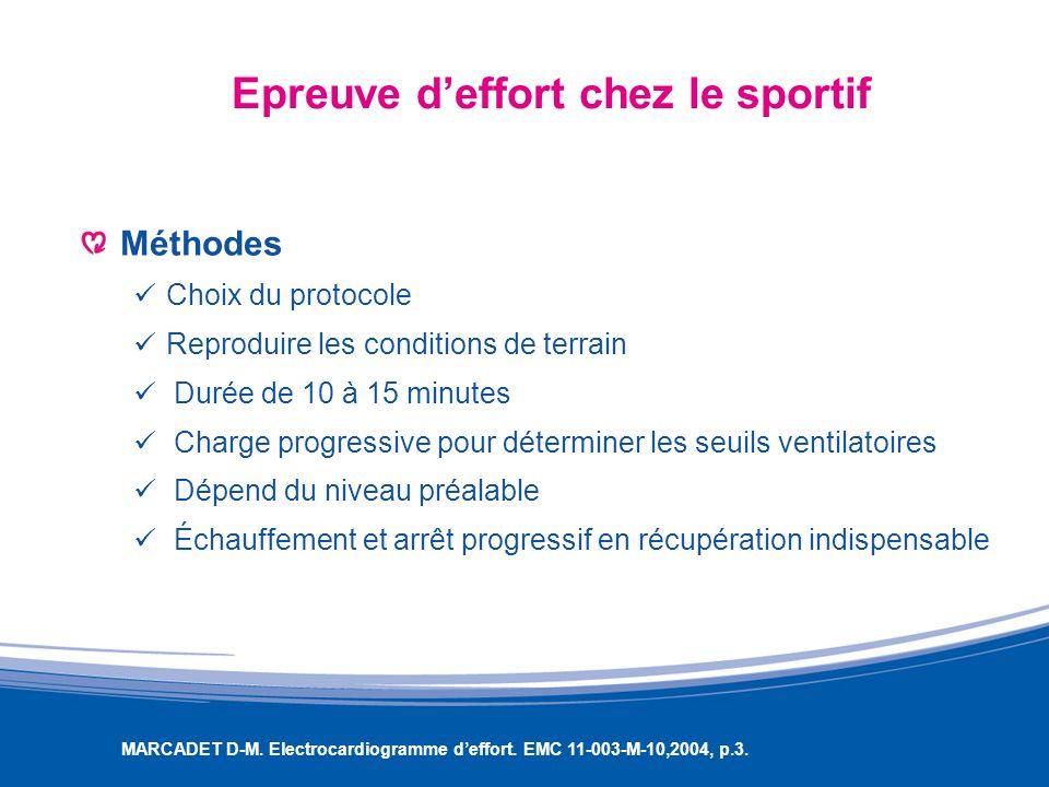 Epreuve deffort chez le sportif Méthodes Choix du protocole Reproduire les conditions de terrain Durée de 10 à 15 minutes Charge progressive pour déte