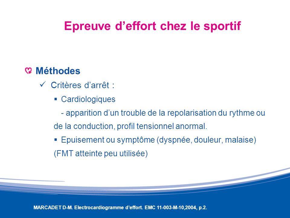 Epreuve deffort chez le sportif Méthodes Critères darrêt : Cardiologiques - apparition dun trouble de la repolarisation du rythme ou de la conduction,