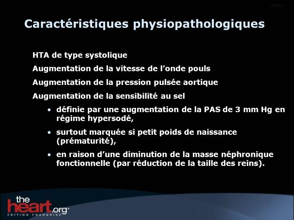 Caractéristiques physiopathologiques HTA de type systolique Augmentation de la vitesse de londe pouls Augmentation de la pression pulsée aortique Augm
