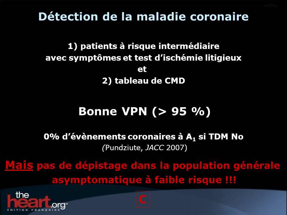 Détection de la maladie coronaire 1) patients à risque intermédiaire avec symptômes et test dischémie litigieux et 2) tableau de CMD Bonne VPN (> 95 %
