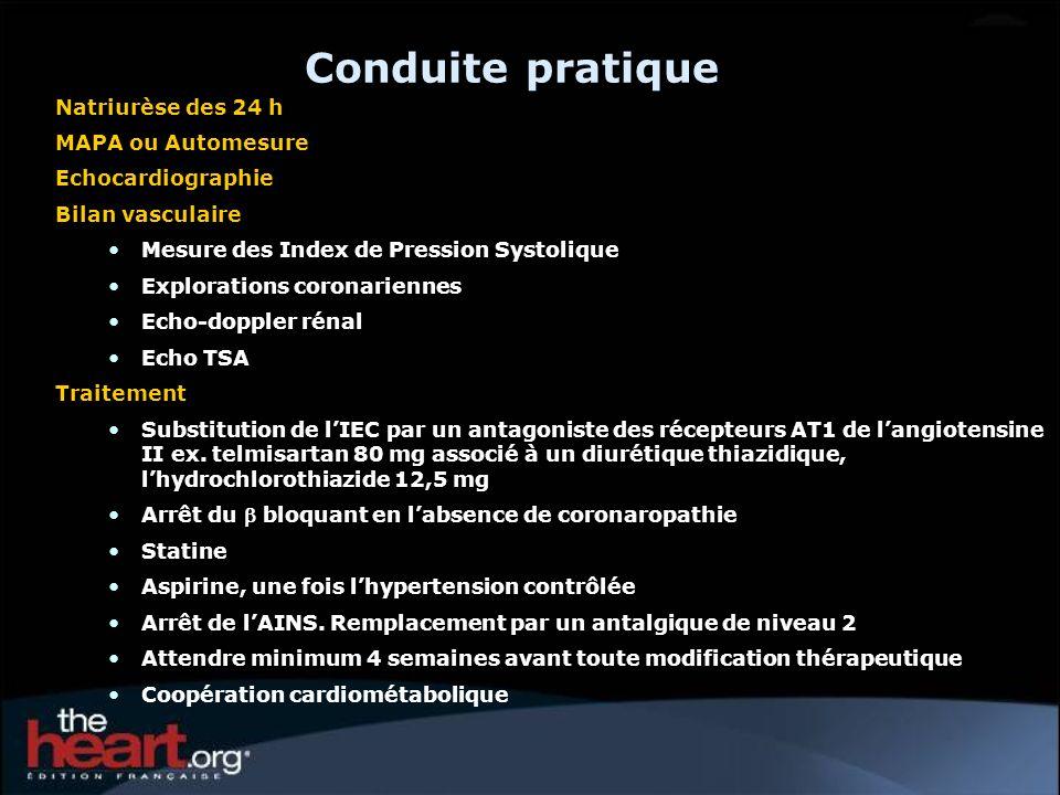 Conduite pratique Natriurèse des 24 h MAPA ou Automesure Echocardiographie Bilan vasculaire Mesure des Index de Pression Systolique Explorations coron