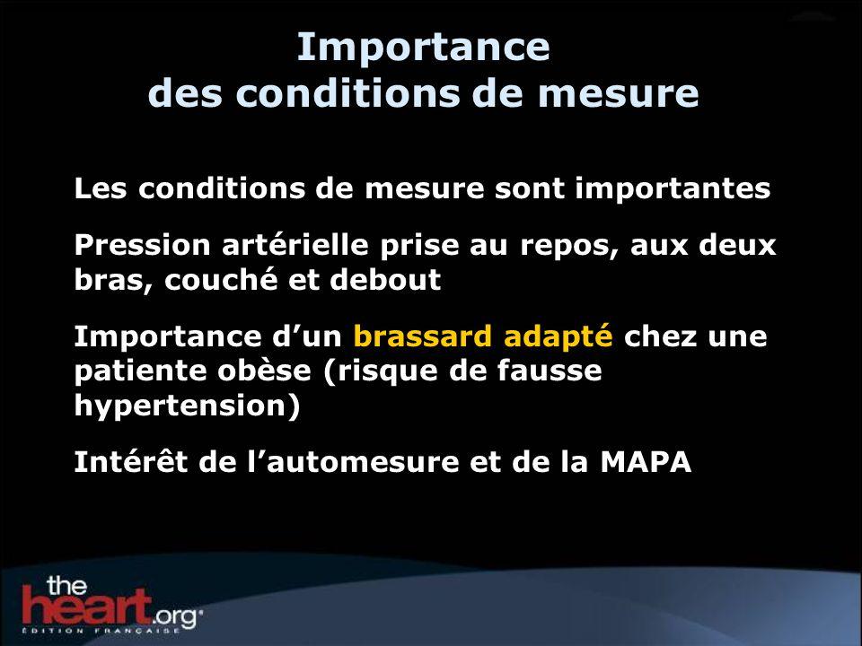 Importance des conditions de mesure Les conditions de mesure sont importantes Pression artérielle prise au repos, aux deux bras, couché et debout Impo