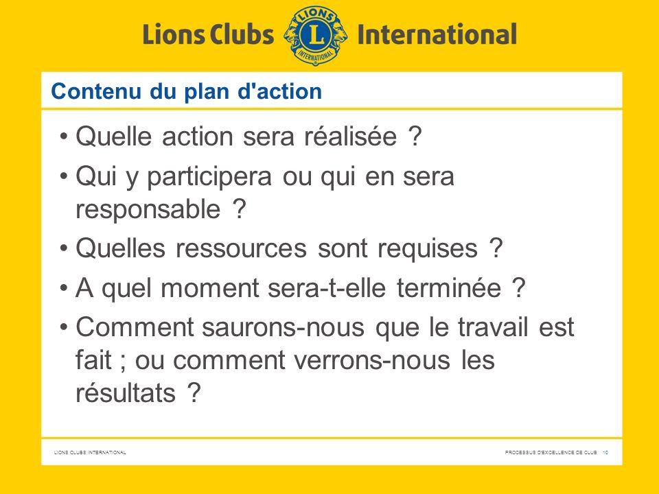 LIONS CLUBS INTERNATIONAL PROCESSUS D'EXCELLENCE DE CLUB 10 Contenu du plan d'action Quelle action sera réalisée ? Qui y participera ou qui en sera re
