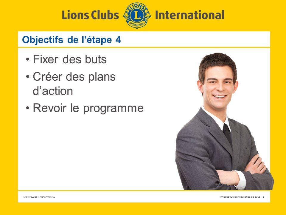 LIONS CLUBS INTERNATIONAL PROCESSUS D EXCELLENCE DE CLUB 13 Mettez en application ce que vous avez appris Décidez en tant que club lesquels des objectifs et plans d action correspondants peuvent être réalisés.