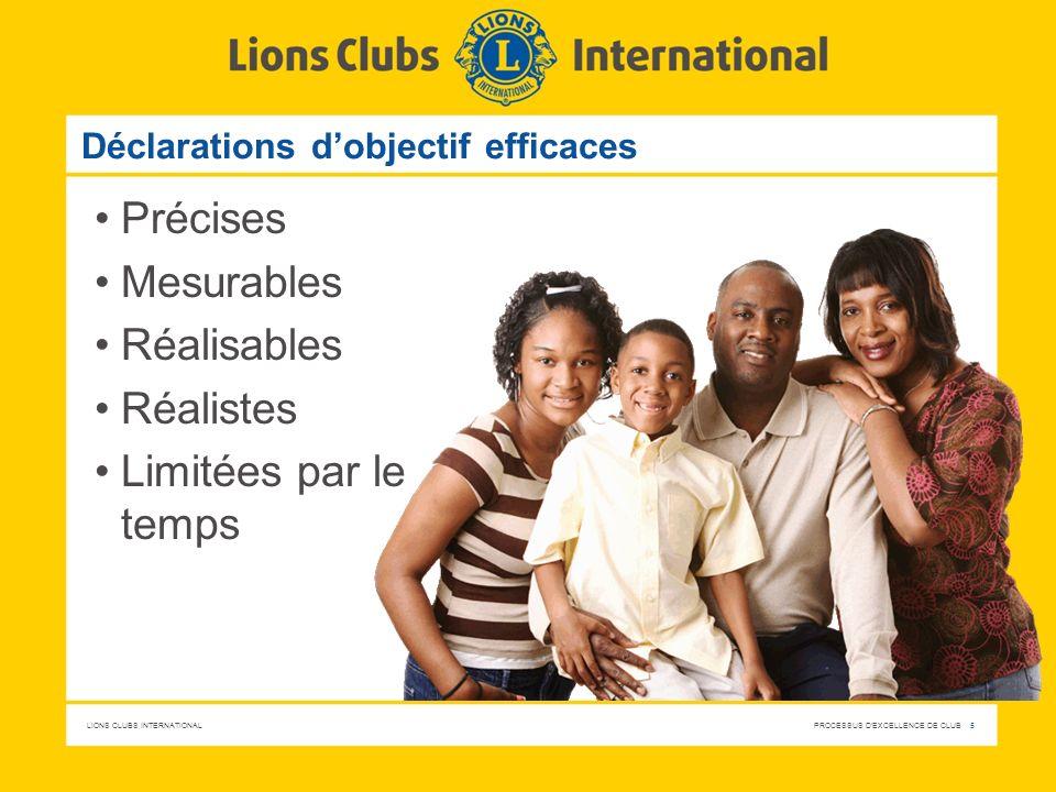 LIONS CLUBS INTERNATIONAL PROCESSUS D'EXCELLENCE DE CLUB 5 Déclarations dobjectif efficaces Précises Mesurables Réalisables Réalistes Limitées par le