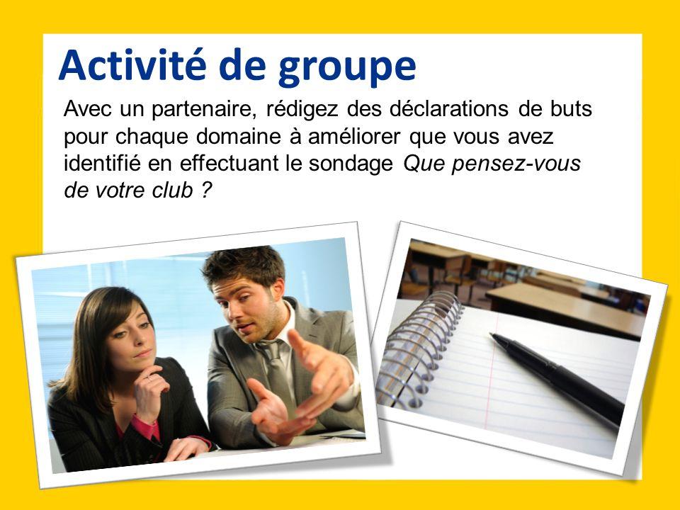 Avec un partenaire, rédigez des déclarations de buts pour chaque domaine à améliorer que vous avez identifié en effectuant le sondage Que pensez-vous