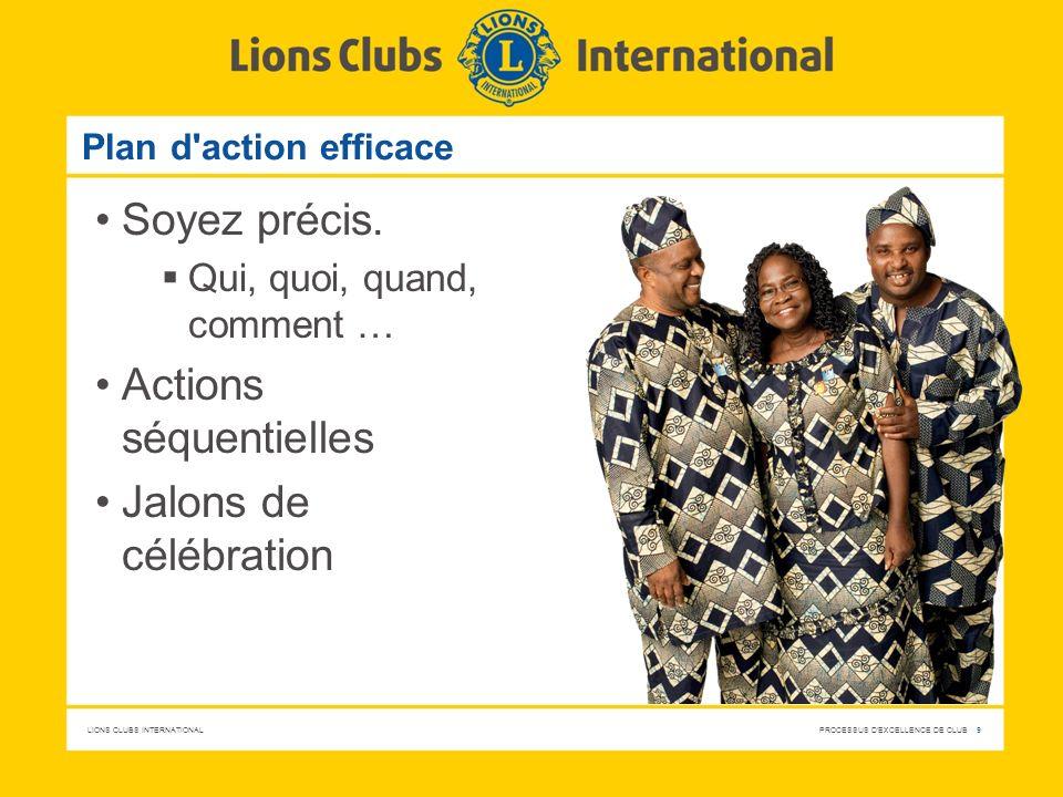 LIONS CLUBS INTERNATIONAL PROCESSUS D'EXCELLENCE DE CLUB 9 Plan d'action efficace Soyez précis. Qui, quoi, quand, comment … Actions séquentielles Jalo