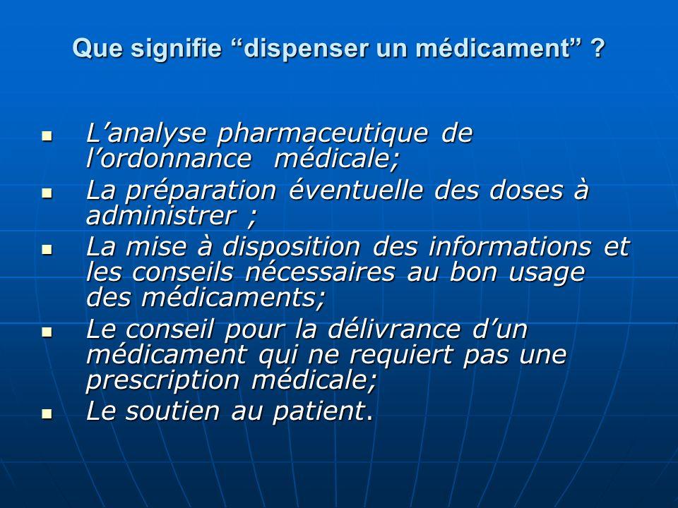 Que signifie dispenser un médicament ? Lanalyse pharmaceutique de lordonnance médicale; Lanalyse pharmaceutique de lordonnance médicale; La préparatio
