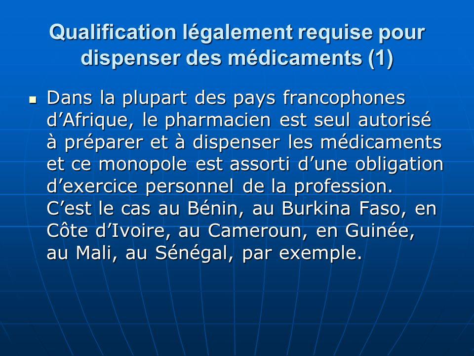Qualification légalement requise pour dispenser des médicaments (1) Dans la plupart des pays francophones dAfrique, le pharmacien est seul autorisé à