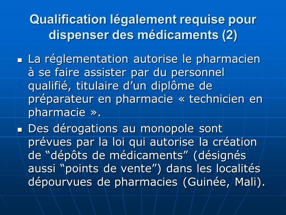 Qualification légalement requise pour dispenser des médicaments (2) La réglementation autorise le pharmacien à se faire assister par du personnel qual
