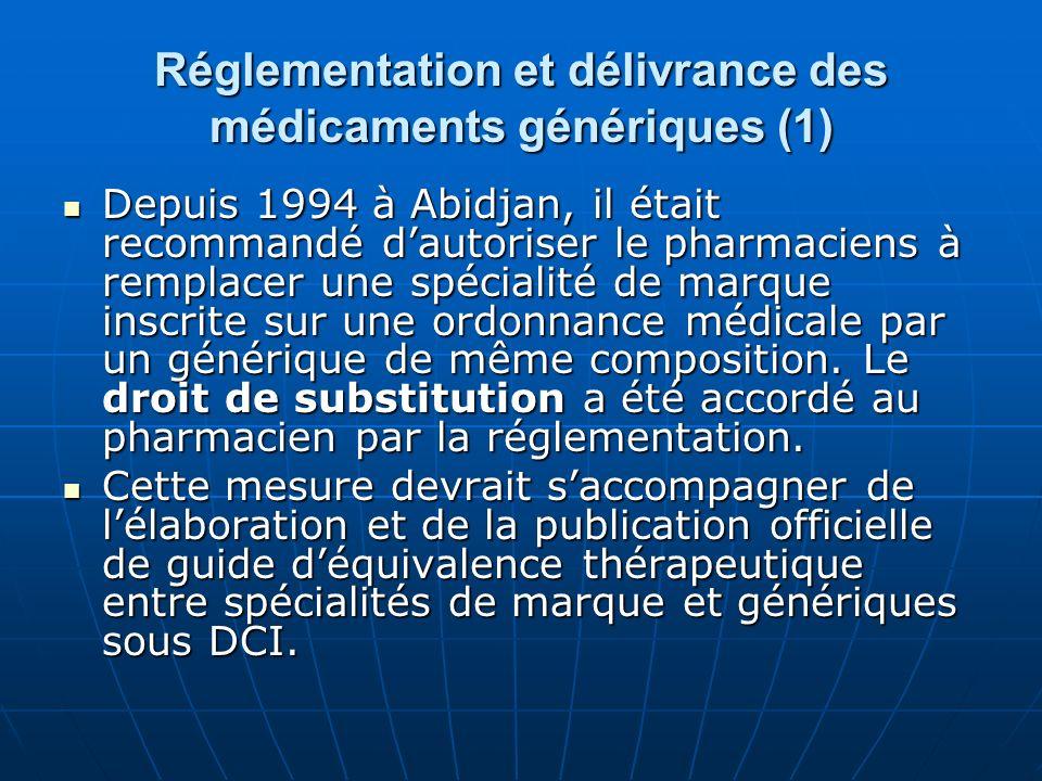 Réglementation et délivrance des médicaments génériques (1) Depuis 1994 à Abidjan, il était recommandé dautoriser le pharmaciens à remplacer une spéci