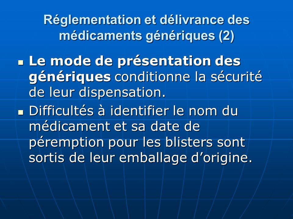 Réglementation et délivrance des médicaments génériques (2) Le mode de présentation des génériques conditionne la sécurité de leur dispensation. Le mo