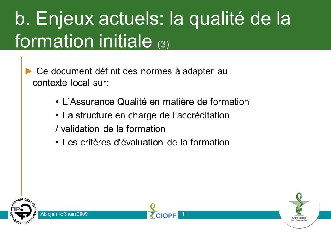b. Enjeux actuels: la qualité de la formation initiale (3) Ce document définit des normes à adapter au contexte local sur: LAssurance Qualité en matiè